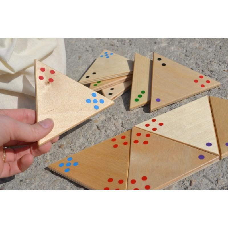 Jeu tridominos géant en bois avec points de couleurs Dominos triangles tactiles Jeu personnes  # Jeux En Bois Géants Pour Kermesse