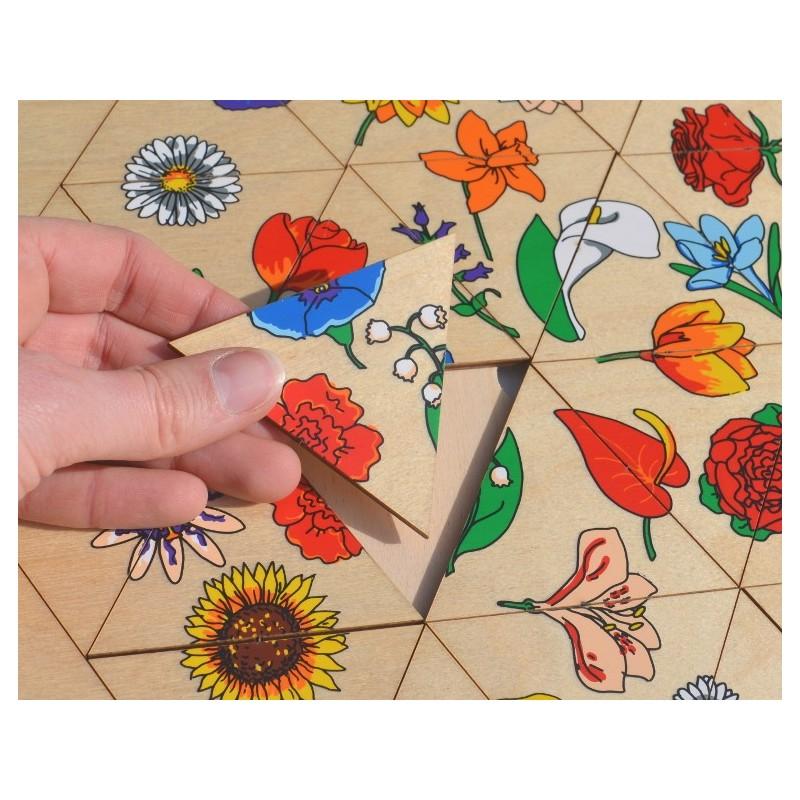 Hexagone Bois : hexagone des fleurs puzzle en bois avec pi?ces triangulaires pour