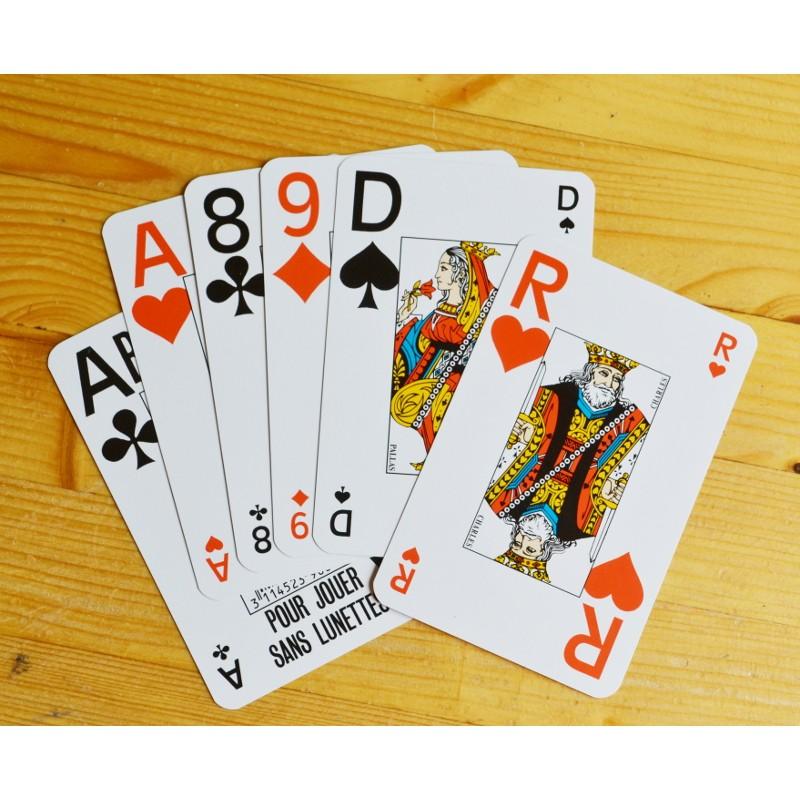 lot de 2 jeux de 54 cartes pour jouer sans lunettes taille classique des cartes mais symboles. Black Bedroom Furniture Sets. Home Design Ideas