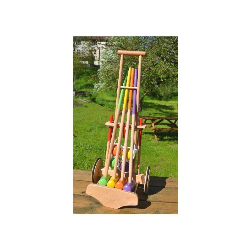 Jeu de Croquet en bois pour enfants, présenté sur un chariot en bo ~ Jeux De Croquet En Bois