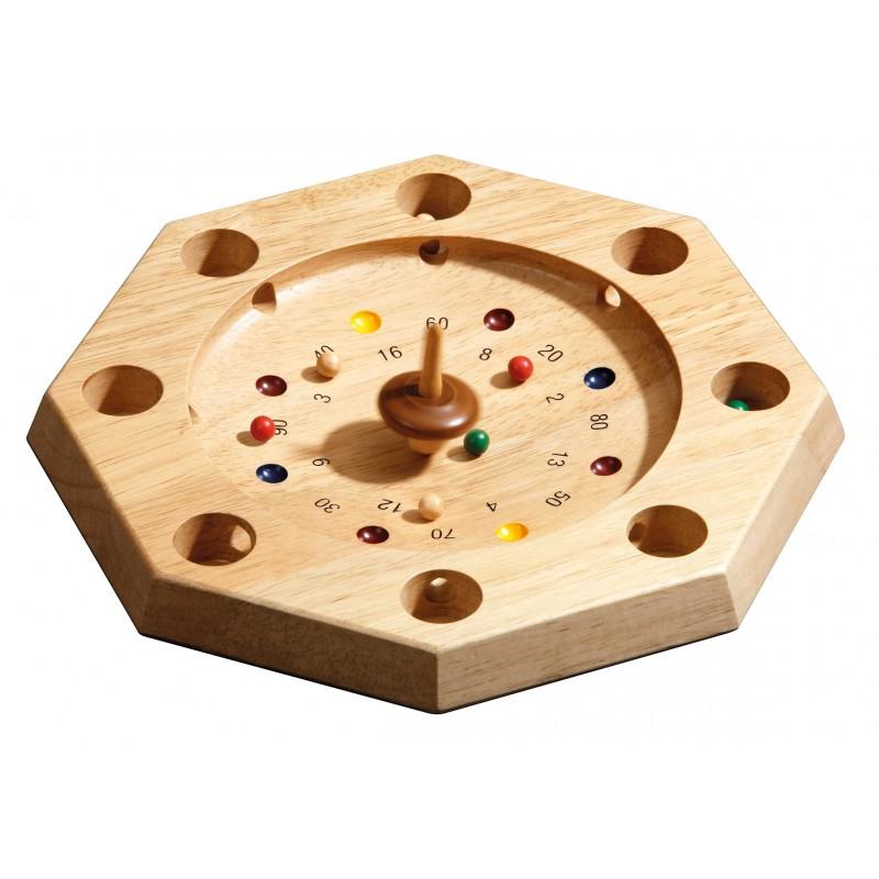 super roulette octogonale jeu traditionnel en bois avec toupie. Black Bedroom Furniture Sets. Home Design Ideas