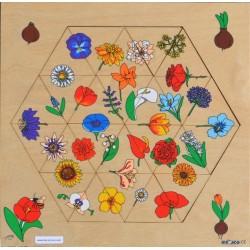 Hexagone fleurs puzzle