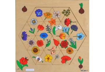 L'hexagone des fleurs puzzle bois