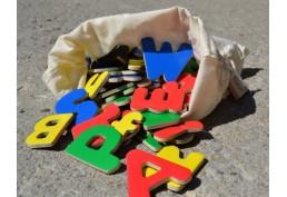 Lot de 104 lettres bois magnétiques