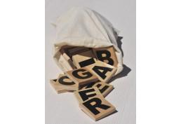 Sac de 77 lettres en bois 5x5 cm