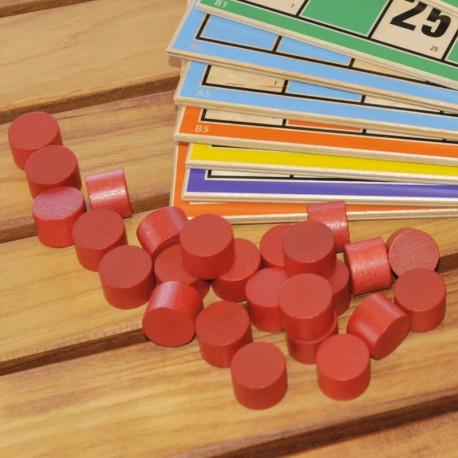 Lot de 90 pions rouges pour Loto