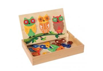 Chouettes aimantées en bois