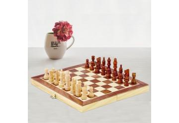 Petit coffret d'échecs pliant en bois