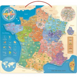 Carte de France en bois aimantée