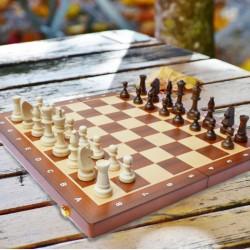 Coffret d'échecs pliant maxi en bois (47 x 47 cm)
