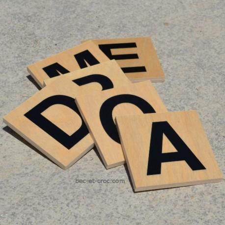 Lot de 100 lettres en bois xxl 10x10 cm