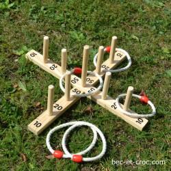 Lancer d'anneau, jeu en bois de kermesse