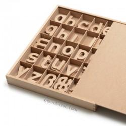 Coffret de lettres en bois caractères minuscules (H 6 cm)