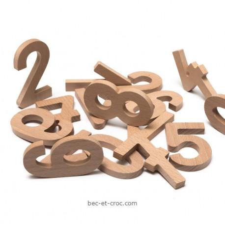 Sac de 10 grands chiffres en bois