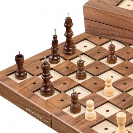 Coffret d'échecs tactile pliant en bois (30 x 30 cm)