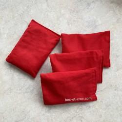 4 sacs tissu rouge pour jeu Troussac