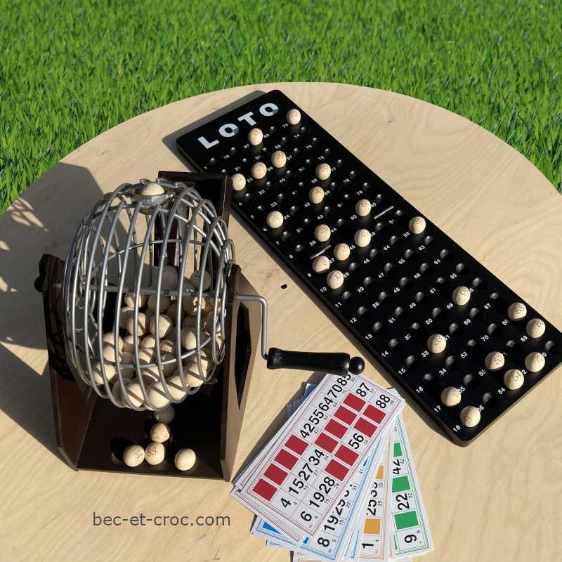 roue pour loterie, sphère métal 18 cm, boulier de suivi, 24 cartes