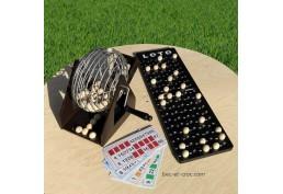 Roue de loto ou bingo en métal, socle bois, boules bois, grand plateau de suivi et 24 cartes