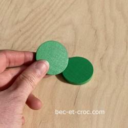 Kit 2 pions verts en bois 4 cm de diamètre
