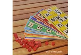 Coffret loto avec 12 cartes de loto en bois série A B