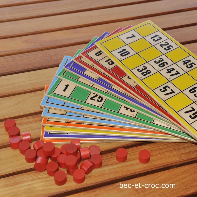 24 Cartes en bois de loto en bois géantes ABCD + jetons