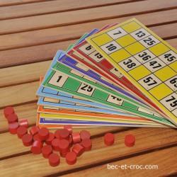 Loto Géant lot de 12 cartes en bois imprimé + 180 pions rouges