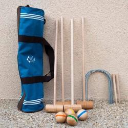 Croquet sac Junior en bois 4 joueurs (sac bleu)