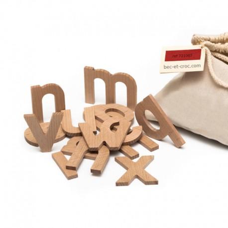 Sac 26 lettres minuscules en bois