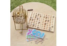 Roue de loto à boules en bois et accessoires