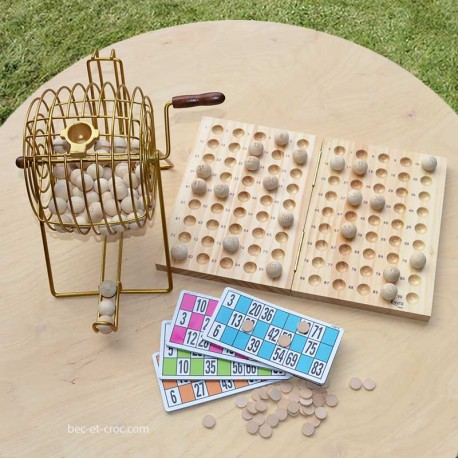 Roue à boule pour loto avec cartes et jetons