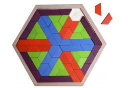 Mosaïque hexagonale petits trapèzes en bois