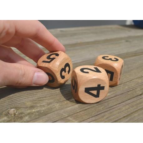 Dés en bois chiffres lot de 3