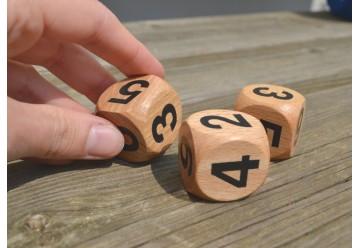 Lot de 6 dés en bois géants chiffres