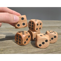 Dés bois géants points 30mm (lot de 6)